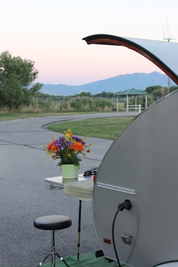 teardrop trailer, vintage trailer, tiny trailer, national park road trip,, Utah, Wyoming, journey not the destination, landscape, scenery, Provo, Utah Lake State Park