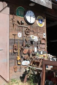 eclectic garage, vintage tools