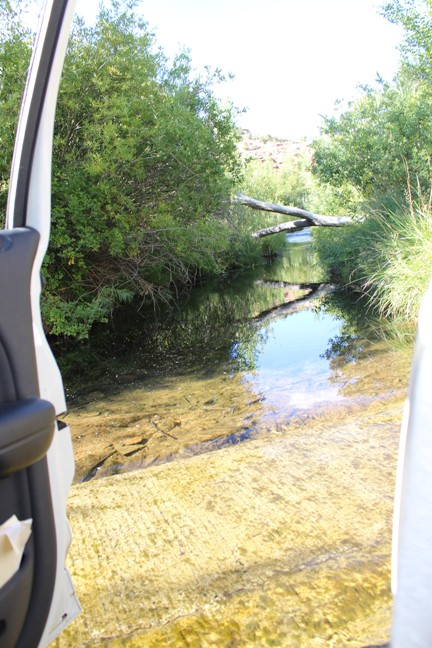 Driving over the stream.