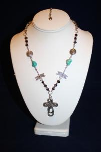 Celtic Cross Turquise Garnet Necklace 1