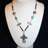 Celtic Cross Turquise Garnet Necklace 1