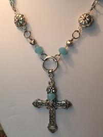 Elegant blue glass clear crystal Necklace 2