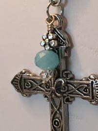 Elegant blue glass clear crystal Necklace 3