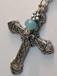 Elegant blue glass clear crystal Necklace 4
